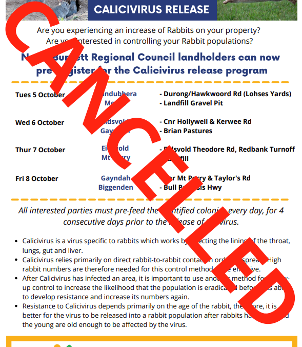 Calicivirus Release – CANCELLED