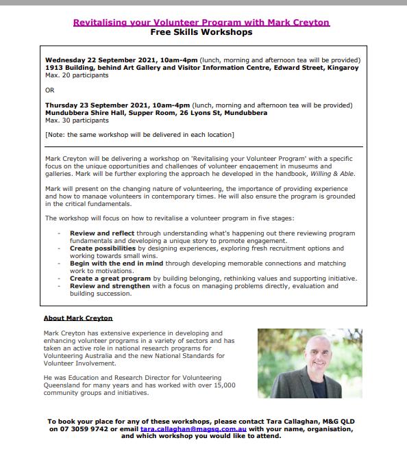 Revitalising your Volunteer Program Workshop with Mark Creyton – Mundubbera