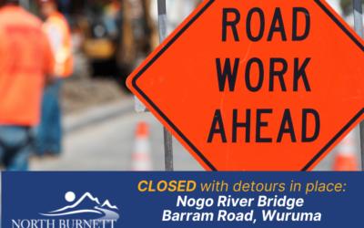 Barram Road closure and detours in place for Nogo River Bridge works